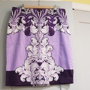 Purple floral pencil skirt